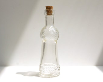 Decorative Clear Glass Bottles With Corks 5 Tall Set