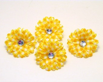 """Yellow Gingham 2"""" Gerber Daisies (set of 4)was 1.80"""