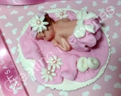 Baby Girl in Pink and White  Outfit/Baby CakeTopper /Cake Decorations/Edible Topper/Baby Shower/first Birthday/Christening/Baby Girl