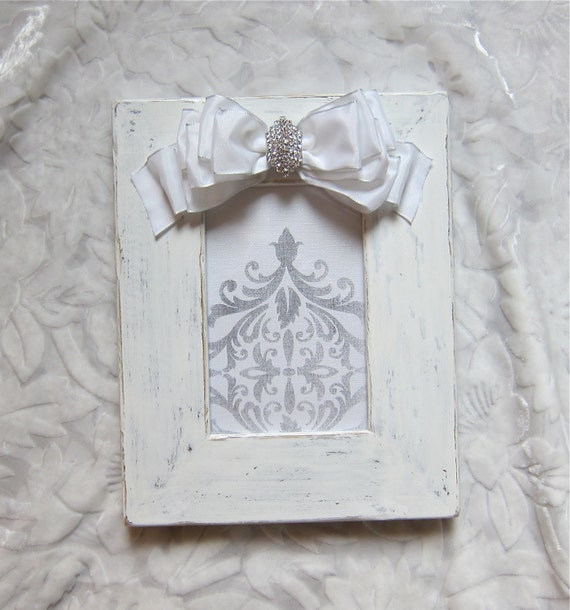 White Wash Wedding Picture Frame Jeweled Bow Diamond Bling