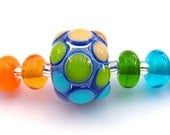 RESERVED FOR VAL......Lampwork Rainbow Bumpy Focal Bead - FHFteam Y3