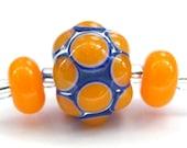 Lampwork Pick 'n' Mix Bumpy Bead - Orange - FHFteam Y3