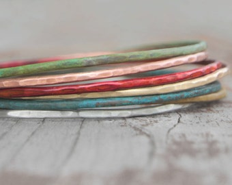 Bangle Bracelets Stacking Colored Bangles Winter Fashion Fresh Hand Hammered Cute Unique 7 Patina Bangles