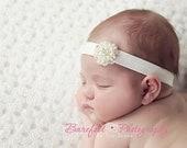 BEJEWELED Headband..White Baby Headband..Newborn Baby Girl Baptism Headband..Baby Girl Pearl Headband..Infant Headband..Photoprop