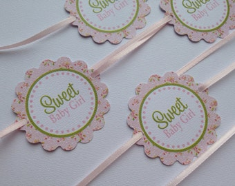 Shabby Chic Baby Shower - Baby Girl - Napkin Rings - Pink - Vintage Roses