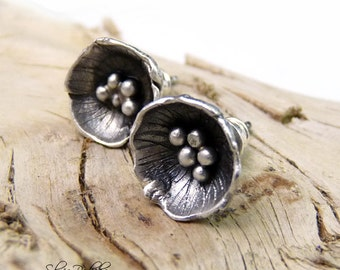 Poppy Post Earrings, Silver Stud Earrings, Poppy Studs, Metal Clay Earrings, Sterling Silver Jewelry, Gift