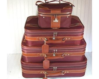 Free Shipping - Vintage Jaguar 4 Piece Matching Luggage Set - Retro Maroon Nylon with Saddle Trim Nesting Collection - 2 Pullman 2 CarryOn