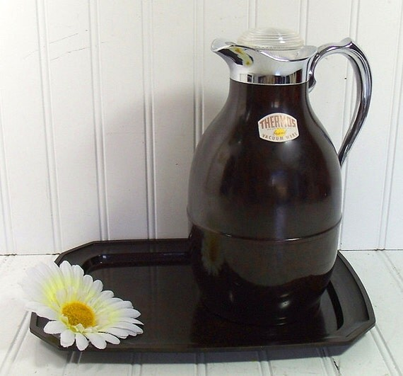 Chocolate Brown Bakelite Insulated Pitcher and Tray Set - Vintage The Only Thermos Brand - Art Deco Guest Room Decor