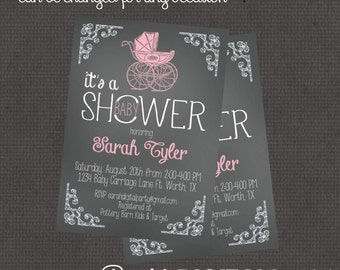 Boy or Girl Chalk Carriage Baby Shower Invitation 4x6 or 5x7 digital you print your own- Design 60