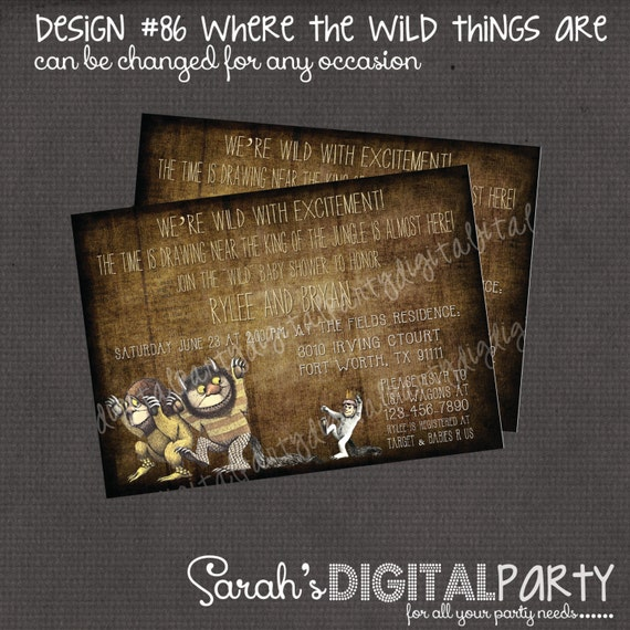 Where the Wild Things Are Invitation 4x6 or 5x7 digital you print your own- Design 86