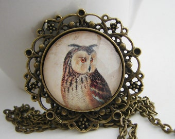 Horned Owl Pendant with Free Matching Necklace