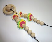 CLEARANCE Crocheted Bead Organic Cotton and Maple Wood Natural Teething and Nursing Necklace