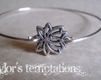 Lotus Bracelet, Lotus Flower Bangle Bracelet, Minimalist, Silver Layering Bangle, Stacking Bracelet