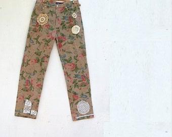SALE SALE flower khaki rose rustic boutique upcycled almost new ralph lauren coffee mocha flowers vintage lace romantic cabin jeans pants
