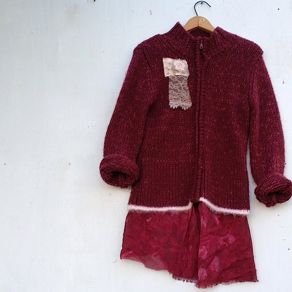 autumn merlot burgundy claret rose wine shabby tunic lace upcycled coat jacket cardigan zip warm cozy sweater