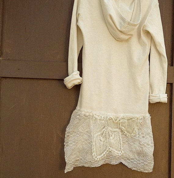 RESERVED beck hand dyed BRAND NEW  off white hoody hoodie thermal knit prairie rose vintage lace rustic tunic romance gypsy boho girl