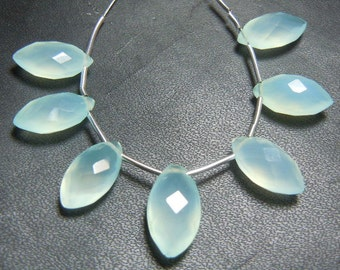 Aqua Chalcedony Briolette Faceted Marquise Beads AAA Qality 7 Pc  Size-7x14MM Wholesale Price