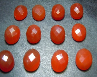 Chalcedony Cabochon Rose Cut Stone Gemstone Calibrated - 10x14MM Oval 10Pc AAA Quality Red  Wholesale Price