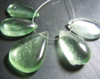 Green Fluorite Briolette Smooth Pear Drops Gemstone  Huge 18 To 25 MM  5Pc AAA Quality  Wholesale Price