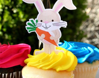 Easter Bunny Cupcake Toppers Set of 12