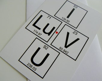 I Love You Periodic Table of Elements Card Romantic Card Valentines Day Card Geekery Love Valentine Card
