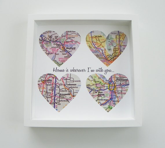 Special Gifts For The Bride: Unique Wedding Gift Personalized Map Heart Art By