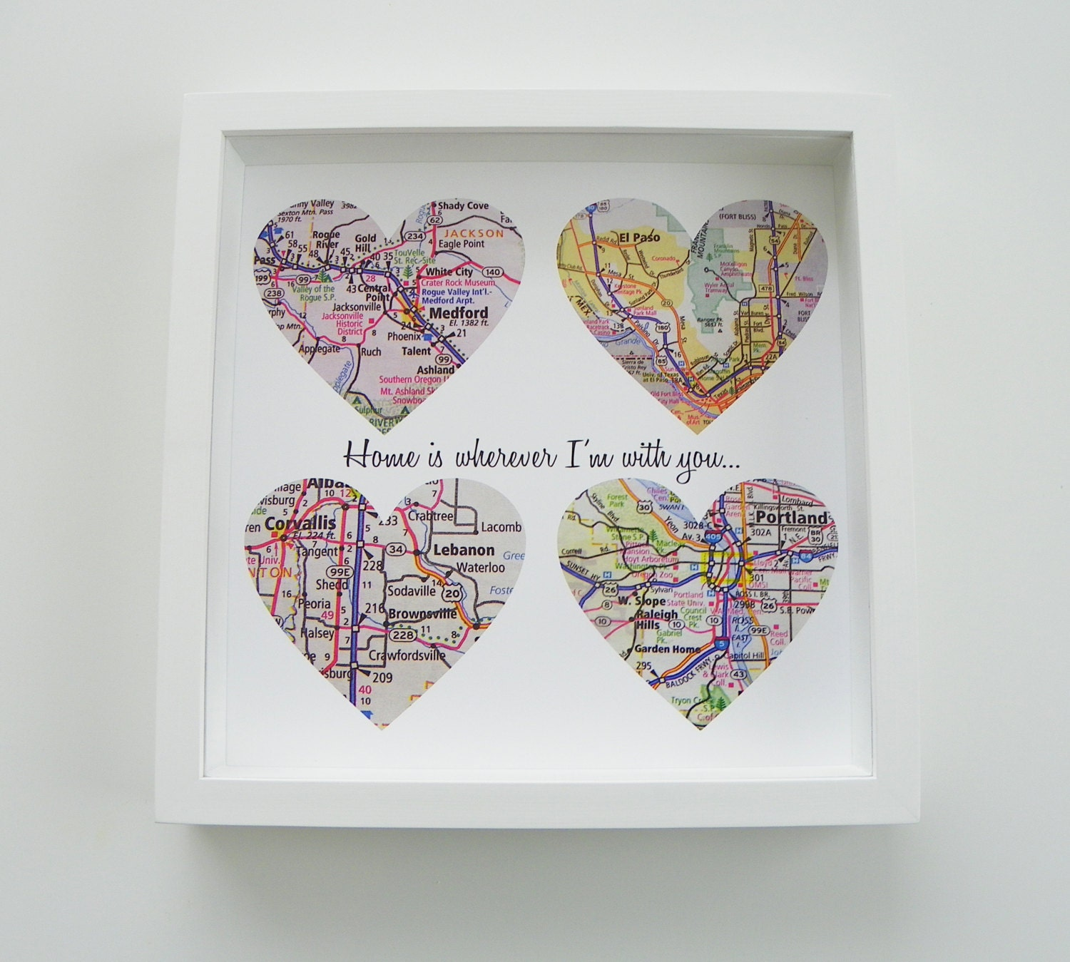 Personalized Wedding Gifts: Unique Wedding Gift Personalized Map Heart Art By