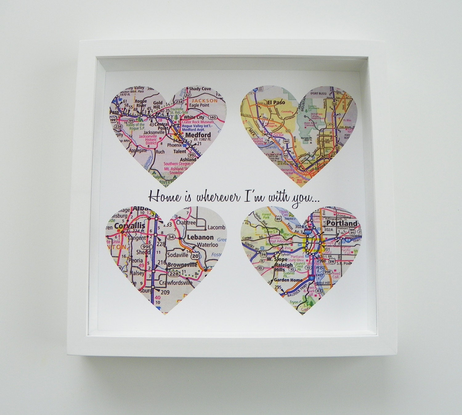 Monogrammed Wedding Gift Ideas: Unique Wedding Gift Personalized Map Heart Art By
