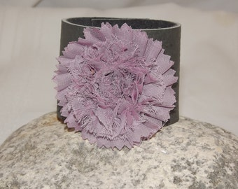 Amazing Purple flower on Gray leather Cuff. Just in time for Spring.