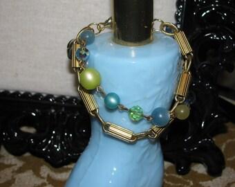 Teal Green Beaded Gold Bracelet Repurposed