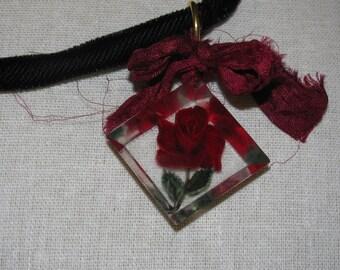 Red Rose Black Velvet Rope Necklace
