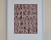 Small World, Modern Art Print Typography, Nursery wall decor, Kids Wall Art, Playroom -11x14