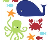 Fish, Whale and Crab, Children's Wall Decals, Kid's Bathroom, Bathroom Decor, Bathroom Decal