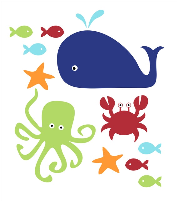Fish whale and crab children 39 s wall decals kid 39 s by for Diving and fishing mural