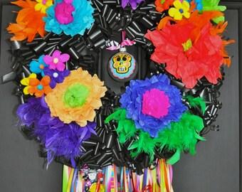 Halloween Day of the Dead Wreath Los Muertos