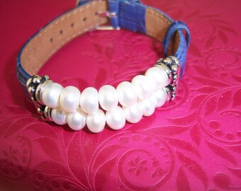 Beautiful Blue Leather Bracelet with Sterling Silver and Pearls