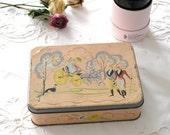 Pink vintage tin box , ballerina pink, illustrated landscape home decor, vintage storage