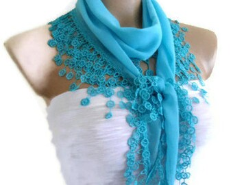 cotton scarf, Necklace scarves, Traditional Turkish-style, Headband,  Ball blue scarf,  fashion 2014