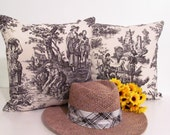 French Country Style Black Toile  18 by 18 Pillow Cover Waverly Toile Country Life  Handmade in the USA
