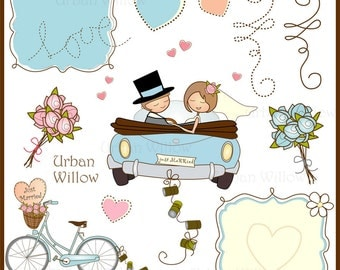 JUST MARRIED(C301) - 12 piece clip art  set in premium quality 300 dpi, png and Jpeg files.