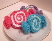 Crochet Candies, play food, pretend food, crochet play food, sweet treats, cotton