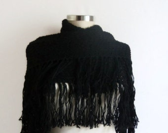 Shawl,Black,Shawl ,Wrap ,(mercerized wool) stole ,capelet ,lacework ,gift for her winter, collar,wrap,stole,collar,cowl,winter,gift