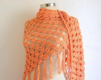 Free shipping Salmon shawl mother's day Coral orangeTriangle handmade handknit Stole  wrap warm silk Bolero trend summer springlux fashion