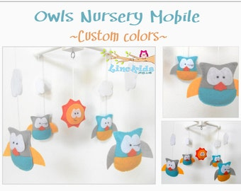 Custom Made Crib Mobile-Owls Crib Mobile-Handmade Owls Mobile