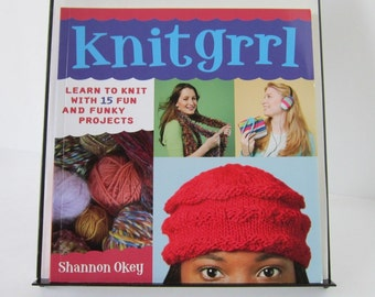 Knitgrrl Knit Girl Knitting Book Shannon Okey Learn to Knit Soda Cozy Messenger Bag