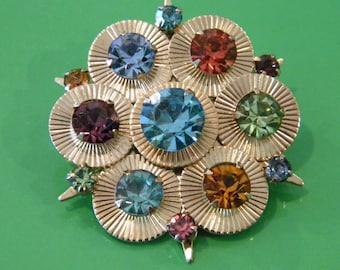 Pretty Patel Birthstone Mothers Crystal Flower Brooch