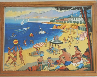 Double-sided Large Vintage French School  poster the seaside and the Bohemiens