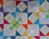 Twin Patchwork  Quilt a Rainbow of Color with poka dots and stripes
