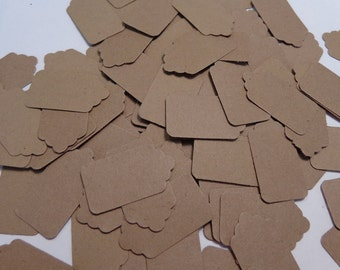 100 Kraft Brown Scalloped Tags Die Cuts Paper Punches Scrapbooking Embellishments