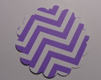 "20 Purple Chevron 2"" Scalloped Circle Die Cuts Paper Punches Tags"